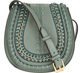 """As Is"" Aimee Kestenberg Pebble Leather Large Saddle Crossbody - A293241"