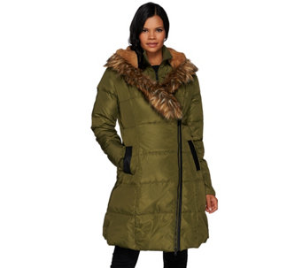 """As Is"" G.I.L.I Asymmetric Zip Down Puffer Coat with Faux Fur Trim - A293341"