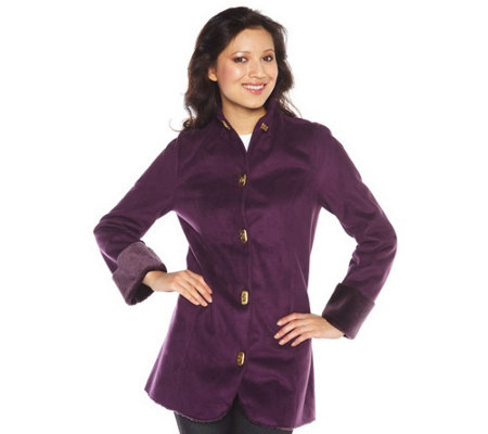 """As Is"" Isaac Mizrahi Live! Faux Shearling Jacket w/ Turn Key Closure"