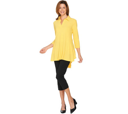 """As Is"" Women with Control Petite Crepe Jersey Knit Tunic & Pants"