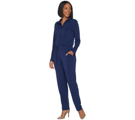 Attitudes by Renee Regular Como Jersey Cargo Jumpsuit