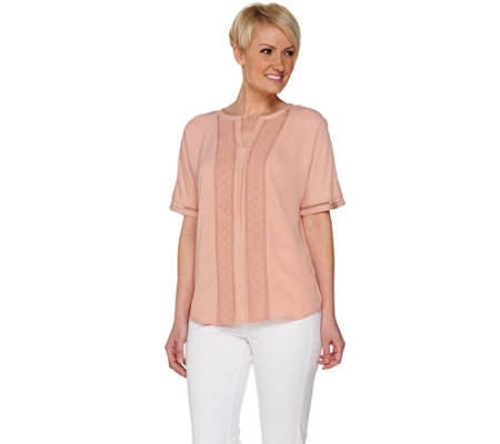 """As Is"" C. Wonder Short Sleeve Split V- neck Top with Lace Detail"