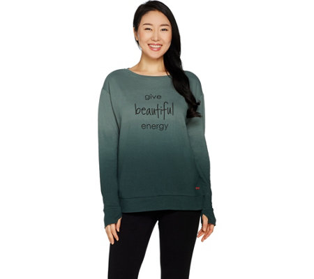 """As Is"" Peace Love World Dip Dye Fleece Knit Top with Affirmation"