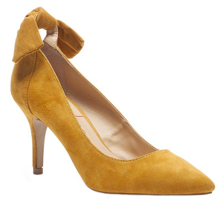 Sole Society Back Bow Suede Leather Pumps - Mabel