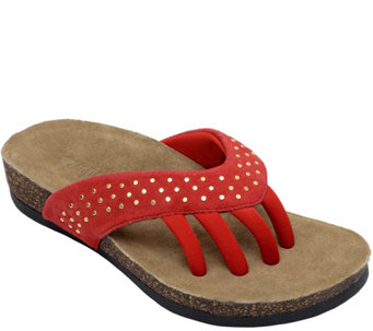 Wellrox Suede Leather Five-Toe Studded Sandals- Mila - A340641
