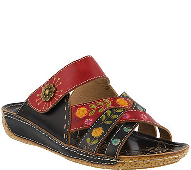 L'Artiste by Spring Step Step Leather Slide Sandals - Leigh - A363641