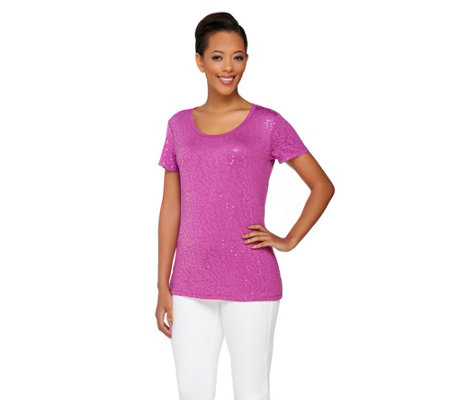 Isaac Mizrahi Live! Short Sleeve Scoop Neck Sequin T-Shirt