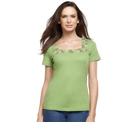 Liz Claiborne New York Embroidered Square Neck T-Shirt