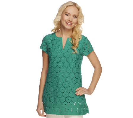 Isaac Mizrahi Live! Short Sleeve Split V-Neck Lace Tunic