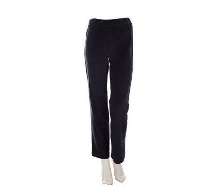 Susan Graver Velour Straight Leg Pull-On Regular Pants