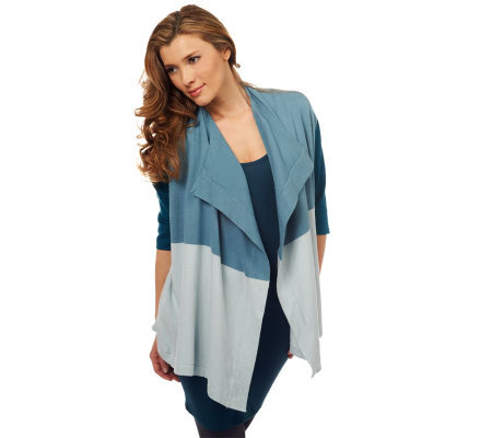 LOGO by Lori Goldstein Colorblock Drape Front Cardigan