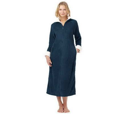 Stan Herman Petite Plush Zip Front Robe with Textured Trim