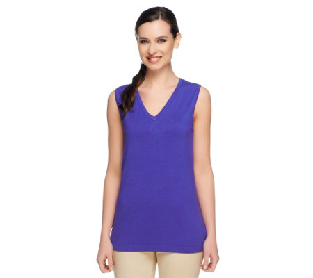 Linea by Louis Dell'Olio Whisper Knit V-Neck Tank w/ Rib Trim