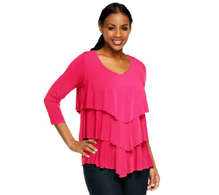 Susan Graver Liquid Knit Chevron Tiered Top with 3/4 Sleeves