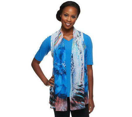 """As Is"" Susan Graver Liquid Knit V-Neck Top with Printed Chiffon Vest"