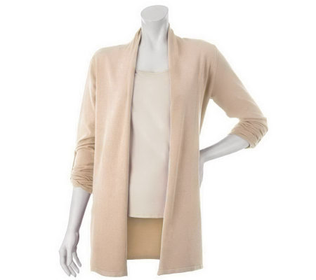 """As Is"" Susan Graver Open Front Cardigan Sweater with Roll Sleeve"