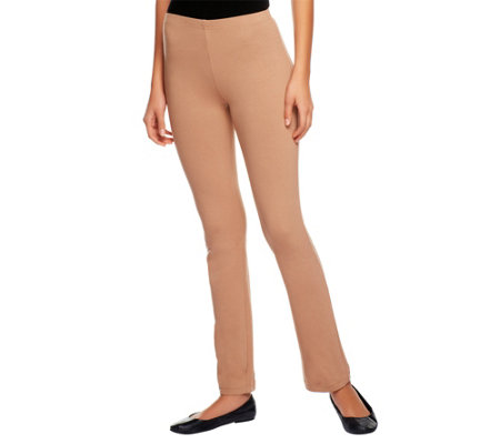 """As Is"" Susan Graver Stretch Cotton Full Length Leggings"