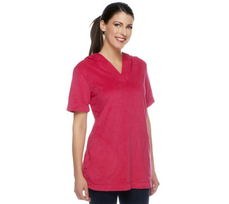 Susan Graver Terry Cloth Short Sleeve Hooded Pullover Tunic