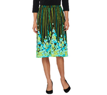 Bob Mackie's Floral Print Jersey Knit A-Line Pull-On Skirt - A254142