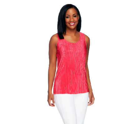 Susan Graver Pleated Scoop Neck Tank Top