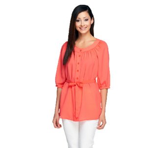 Linea by Louis Dell'Olio Peasant Top with Belt - A254442