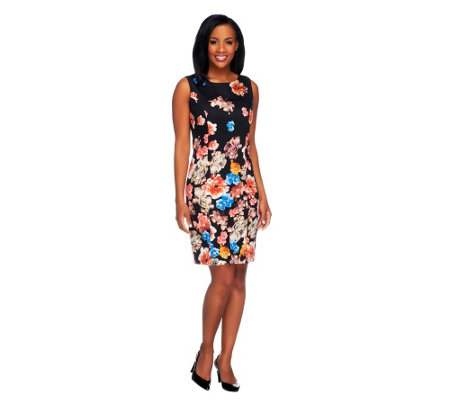 Dennis Basso Floral Printed Stretch Sateen Sleeveless Sheath Dress
