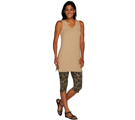 Women with Control V-Neck Knit Tank w/ Printed Pedal Pushers