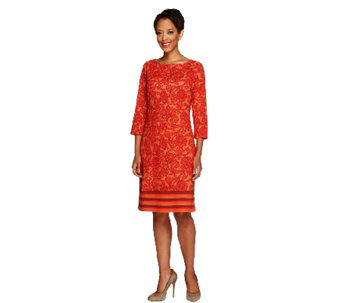 Liz Claiborne New York Petite 3/4 Sleeve Printed Knit Dress - A256442