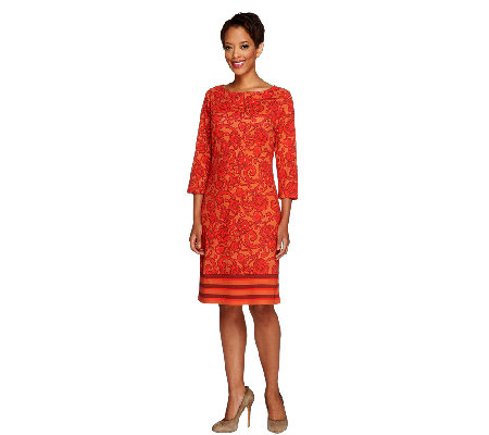 Liz Claiborne New York Petite 3/4 Sleeve Printed Knit Dress