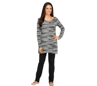 Women with Control Petite Printed Tunic & Slim Leg Pants Set - A256842