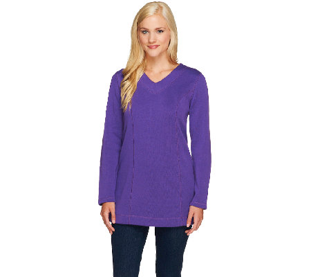 Denim & Co. Essentials Flat Back Rib Tunic w/ Stitching