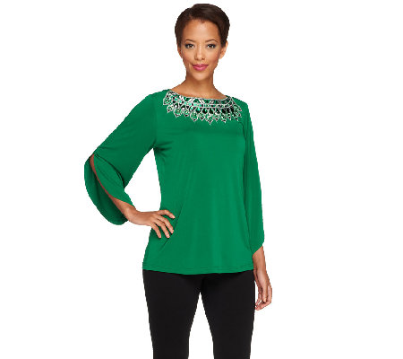 Bob Mackie's 3/4 Sleeve Top with Embellished Neckline