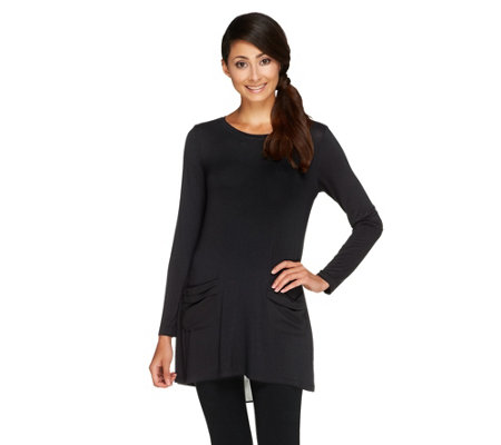 LOGO by Lori Goldstein Knit Top with Chiffon Pockets and Back Detail