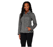 Isaac Mizrahi Live! Diamond Quilted Zip Front Knit Jacket - A259542