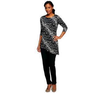 """As Is"" Women w/ Control Regular Printed Tunic & Slim Pants Set - A259842"