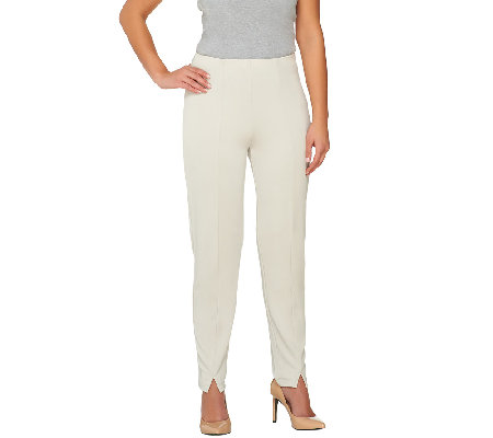 Susan Graver Premier Knit Hollywood Waist Slim Leg Ankle Pants - Petite