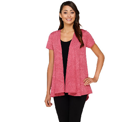 George Simonton Textured Knit Cascade Front Cardigan with Cap Sleeves