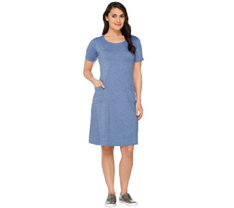 LOGO Lounge by Lori Goldstein Regular Short Sleeve Dress with Pockets - A262642