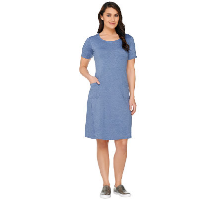 LOGO Lounge by Lori Goldstein Regular Short Sleeve Dress with Pockets