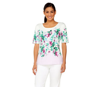 Isaac Mizrahi Live! Engineered Cluster Floral T-Shirt - A262842