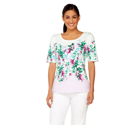 Isaac Mizrahi Live! Engineered Cluster Floral T-Shirt