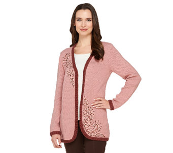 Bob Mackie's Open Front Embroidered Cardigan - A263342