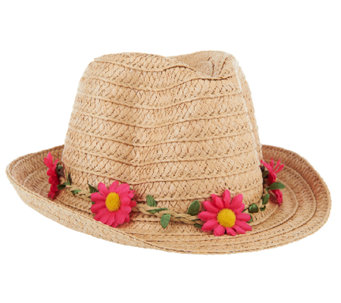 Tashon Straw Fedora with Removable Flower Headband - A264042