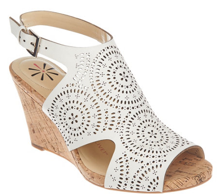 Isaac Mizrahi Live! Perforated Leather Wedge Sandals