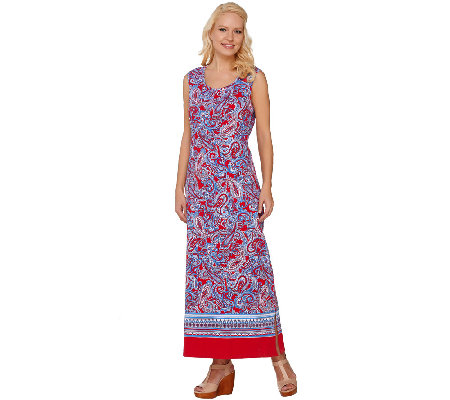 Denim & Co. Paisley Border Print Sleeveless Maxi Dress