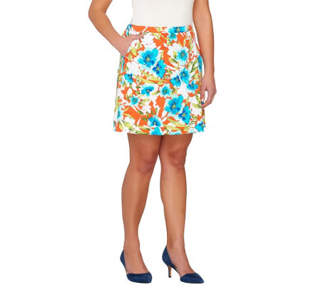 Susan Graver Printed Cotton Sateen Wrap Front Skort