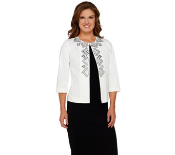 Joan Rivers Geometric Embellished Jacket w/ 3/4 Sleeves - A268142