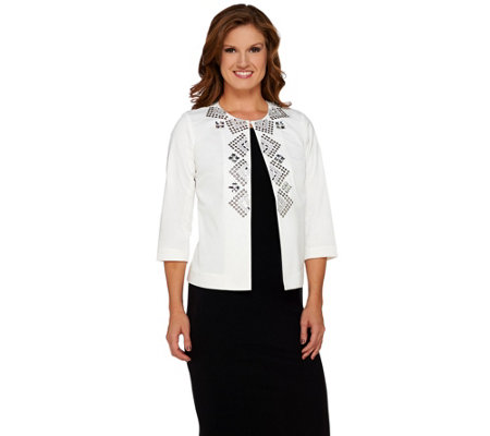 Joan Rivers Geometric Embellished Jacket w/ 3/4 Sleeves