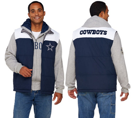 NFL Dallas 5-in-1 Reversible Vest and Hoodie Combo