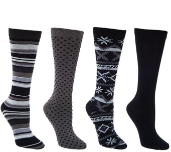 MUK LUKS 4 Pairs Patterned Trouser Socks - A268642
